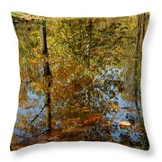 Tree River Reflections Throw Pillow