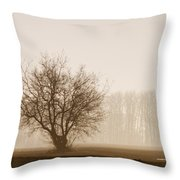 Tree Silhouette In Fog Throw Pillow