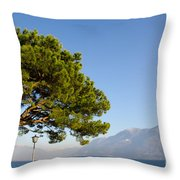 Tree Standing Close To A Lake Throw Pillow