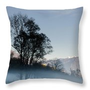 Tree With Fog On Field And Throw Pillow