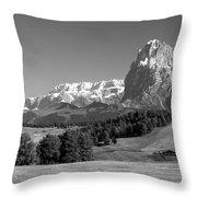 Treeline Across Alpi Di Siusi In The Dolomites Throw Pillow