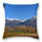 Trees And Mountain Throw Pillow