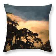 Trees And Mountaintops Above The Clouds Throw Pillow