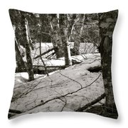 Trees And Snow In April Throw Pillow