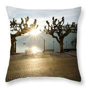 Trees And Sunset Throw Pillow