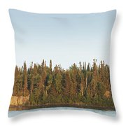 Trees Covering An Island On Lake Throw Pillow by Susan Dykstra