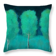 Trees In Triplicate Moonlit Winter Throw Pillow by Robin Lewis