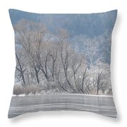 Trees On A Frozen Lake Throw Pillow