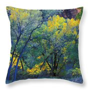 Trees On Edge Of Field In Autumn Throw Pillow