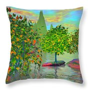 Trees On Rocks In A Lake Throw Pillow