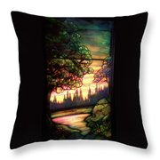 Trees Stained Glass Window Throw Pillow