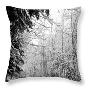Trees Under The Snow Throw Pillow