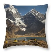 Trekkers Camp Near Carhuacocha Lake Throw Pillow