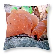 Tremella Mesenterica - Orange Brown Brain Fungus Throw Pillow