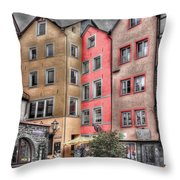 Tricolor Houses Throw Pillow