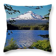Trillium Lake At Mt. Hood II Throw Pillow