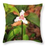 Trillium Wildflower Throw Pillow