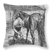 Trim And Fit - Farrier With Horse Art Print Throw Pillow