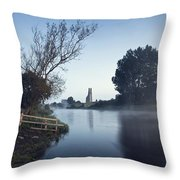 Trim Castle Along Banks Of The River Throw Pillow