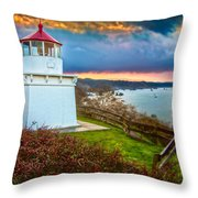 Trinidad Memorial Lighthouse Morning Throw Pillow