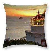 Trinidad Memorial Lighthouse Sunset Throw Pillow