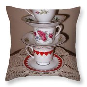 Trio Of Valentine Tea Cups  Throw Pillow