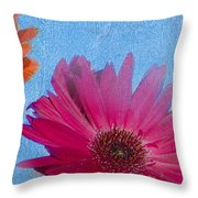 Triptych Gerbera Daisies-two Throw Pillow