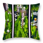 Triptych Of Water Hyacinth Throw Pillow