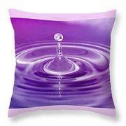 Triptych Water Drops In Purple And Pink Throw Pillow