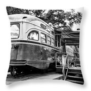 Trolley Car Diner - Philadelphia Throw Pillow