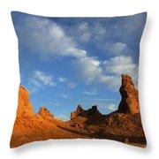 Trona Pinnacles Golden Hour Throw Pillow