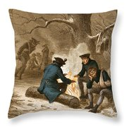 Troops At Valley Forge Throw Pillow