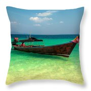 Tropical Boat Throw Pillow