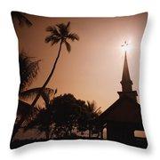 Tropical Church In Silhouette Throw Pillow