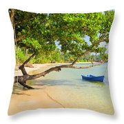 Tropical Island Scenery Throw Pillow