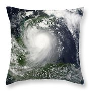Tropical Storm Karl Over The Yucatan Throw Pillow