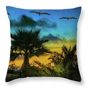 Tropical Sunset With Pelicans Throw Pillow