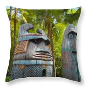 Tropical Tikis Throw Pillow