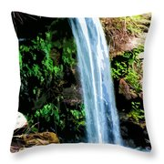 Tropical Waterfall And Pond Throw Pillow