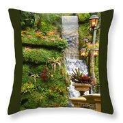 Tropical Waterfall  Throw Pillow