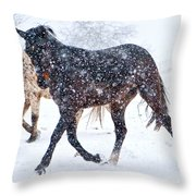 Trotting In The Snow Throw Pillow