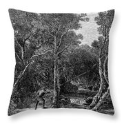 Trout Fishing, 1867 Throw Pillow by Granger