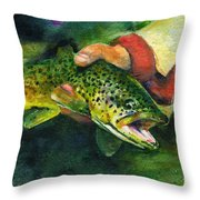 Trout In Hand Throw Pillow
