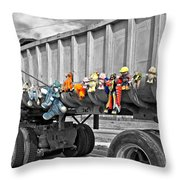 Truck And Dolls With Selective Coloring Throw Pillow