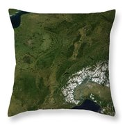 True-color Satellite View Of France Throw Pillow