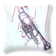 Trumpet Lifted By Balloons Throw Pillow