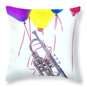 Trumpet Lifted By Balloons Throw Pillow by Garry Gay