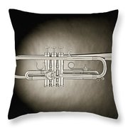 Trumpet On Spotlight B And W Throw Pillow