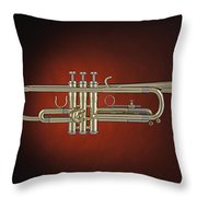 Trumpet Red Spotlight  Throw Pillow