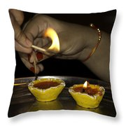 Trying To Light An Oil Lamp That Has Gone Out Throw Pillow